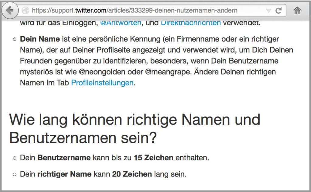Twitter-Screenshot 20 Zeichen Beschränkung