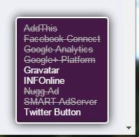 Ghostery Info - Beispiel