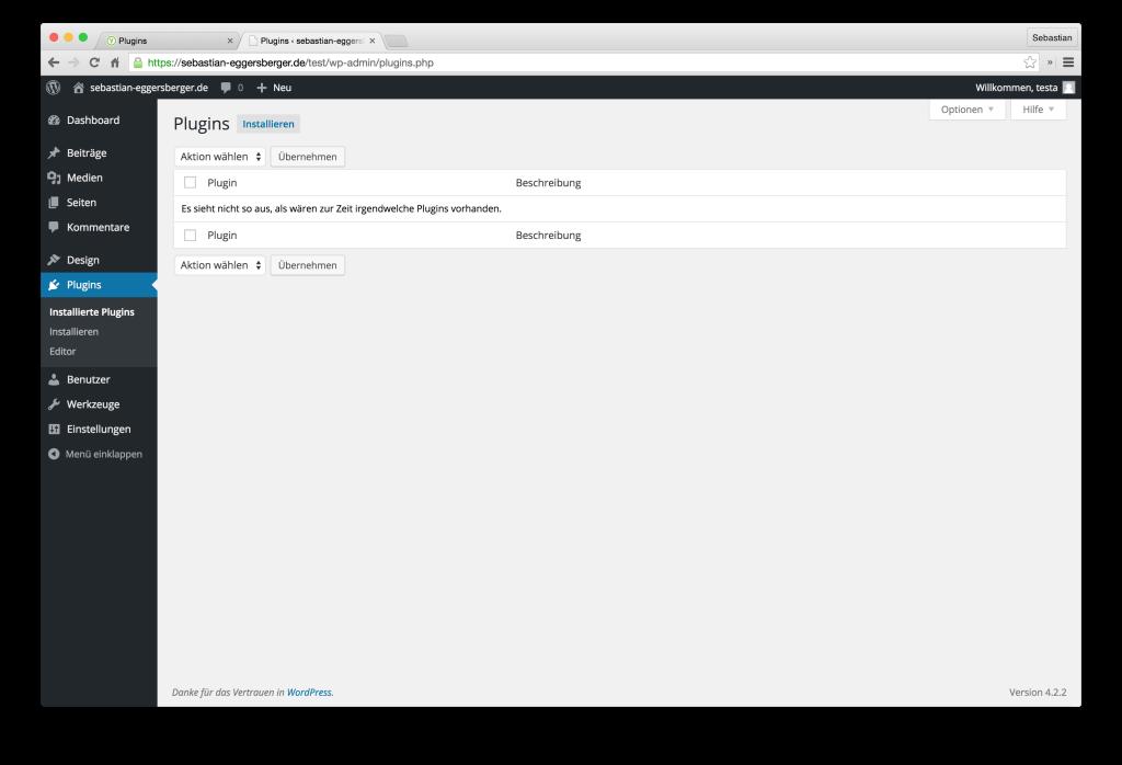 WordPress-Installation: Plugin manuell installieren.
