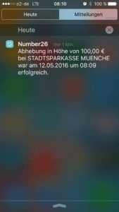 Screenshot N26 Geldabhebung