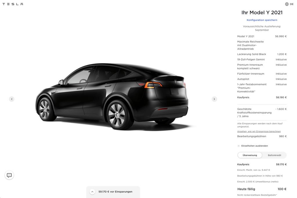 Screenshot Model Y Konfiguration auf tesla.com